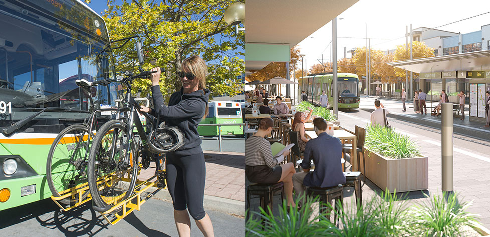Image montage - Bus with bike rack and Canberra's new light rail network